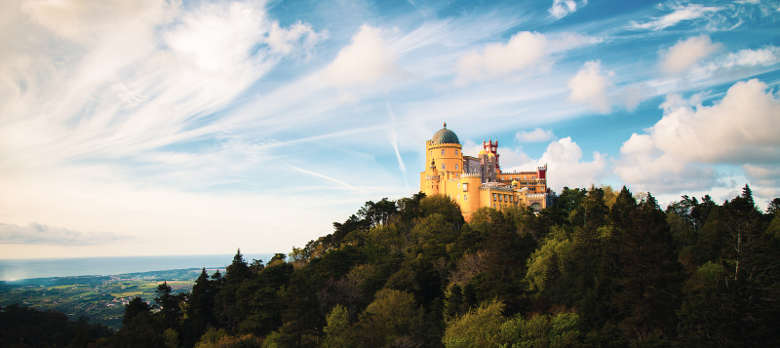 Panorama of the colorful Pena Palace, Sintra, Lisbon, Portugal