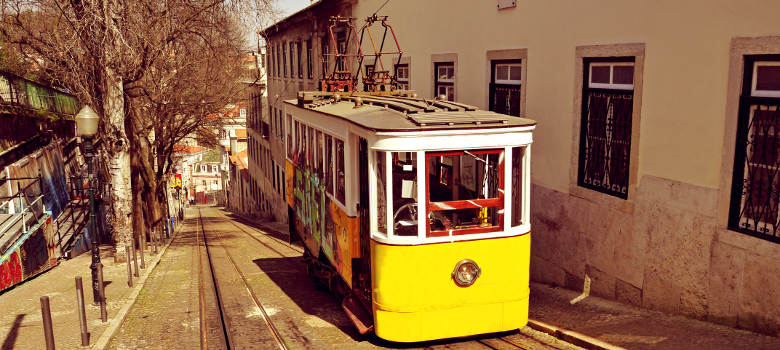 a view of the historical Gloria Funicular in Lisbon, Portugal