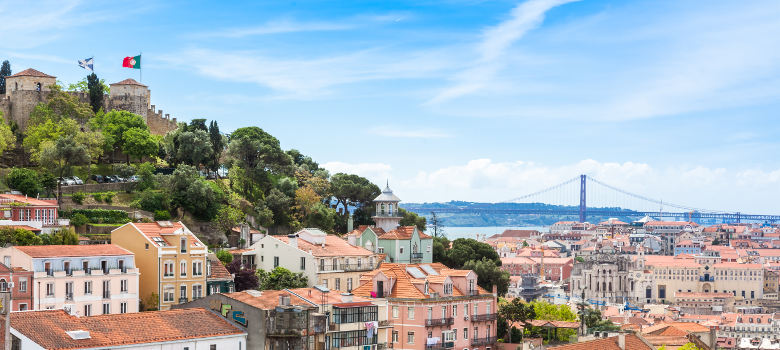 Panoramic view of Miradouro da Graca viewpoint in Lisbon Portugal