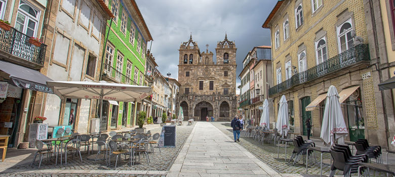 BRAGA, PORTUGAL JUNE, 16 2016 - Braga Cathedral in town historic centre