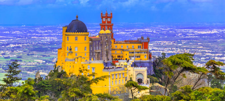 Beautiful view of Pena architecture, National Palace of Sintra in Portugal
