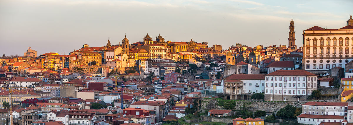 Porto city riverfront. View from Vila Nova de Gaia Portugal