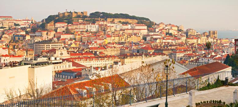 Skyline of Lisbon viewl from the Miradouro de San Pedro de Alcantra