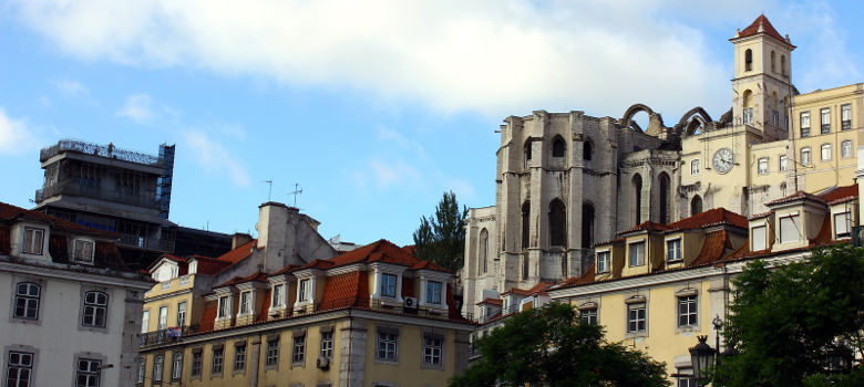 View over some important buildings at Lisbon's downtown.