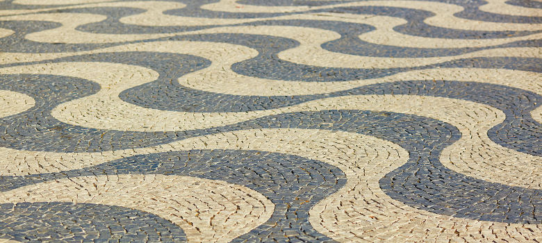 Pavement at Rossio square in Lisbon Portugal