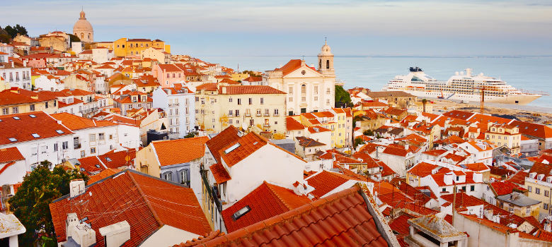 Skyline of Alfama - Lisbon Old Town at sunset. Portugal
