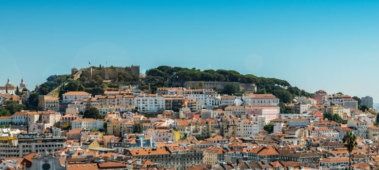 Panoramic view of Miradouro at Lisbon, Portugal, Europe