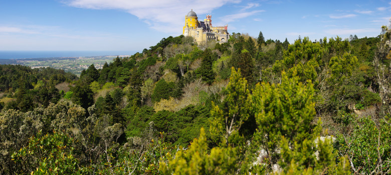 Panorama of the Pena Palace in Sintra National Park, Portugal
