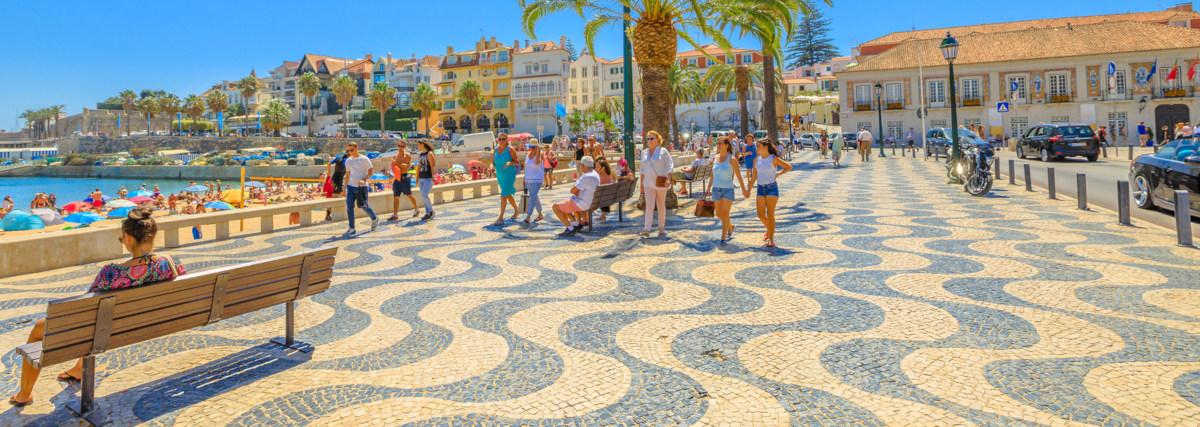 Cascais, Portugal - August 6, 2017: Promenade Along Ribeira Beac