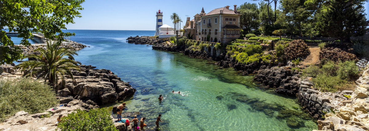 Cascais - August 14, 2019: Superb View Of The Inlet Along The Ro