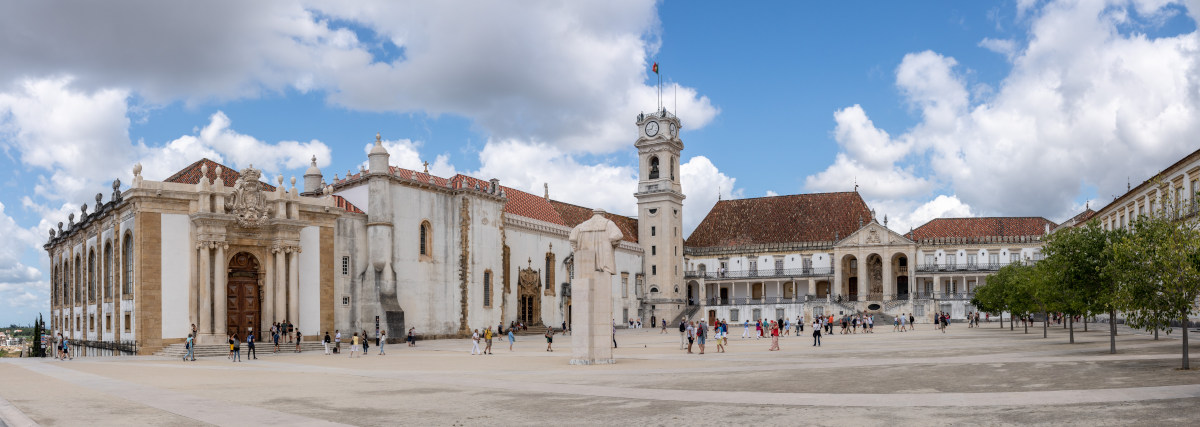 Coimbra, Portugal - 11 August 2019: Tourists Visiting The Biblio