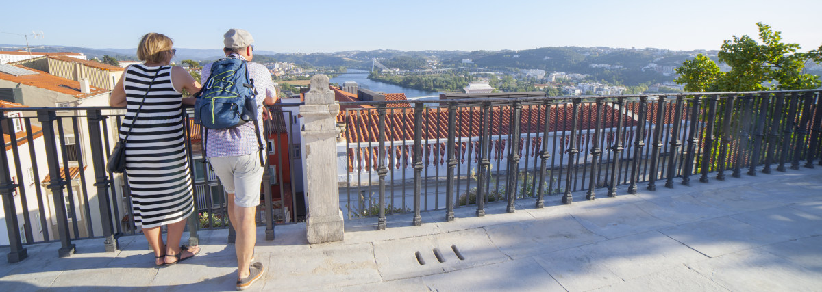 Coimbra, Portugal - Sept 6th 2019: Mature Couple At Viewpoint To