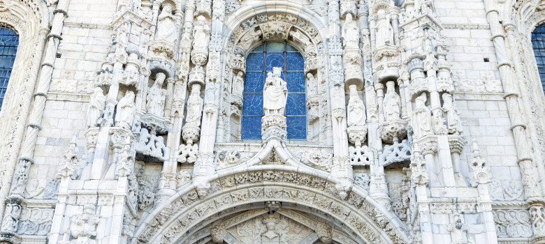 Detail of ornate gothic carvings and architecture of Jeronimos M